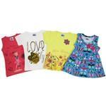 Blusas Bebê Feminina Kit com 4 Unidades Goiaba, Branco, Amarelo e Azul Celeste-1