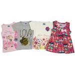 Blusas Bebê Feminina Kit com 4 Unidades Rosa, Cinza Mescla, Creme e Pink-1