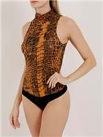 Body Animal Print Feminino Autentique Laranja