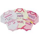 Body Bebê Feminino Manga Longa Kit com 3 Unidades Estampadas Divertidas-P