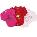 Body Bebê Feminino Manga Longa Pink, Vermelho e Rosa Kit com 3 Unidades-M