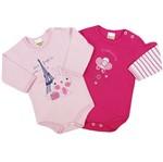 Body Bebê Feminino Manga Longa Rosa e Pink Kit com 2 Unidades-P