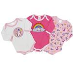Body Bebê Feminino Manga Longa Unicónio Kit com 3 Unidades-P