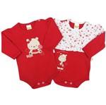 Body Bebê Feminino Manga Longa Vermelho Kit com 2 Unidades-P