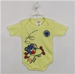 Body Bebê Masculino Manga Curta Avião Amarelo-M