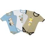Body Bebê Masculino Manga Curta Bichinhos Kit com 3 Unidades