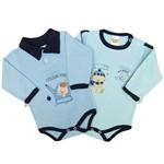 Body Bebê Masculino Manga Longa Azul Claro e Verde Água Kit com 2 Unidades