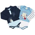 Body Bebê Masculino Manga Longa Azul Jeans e Azul Marinho Kit com 2 Unidades-P