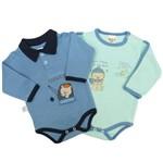 Body Bebê Masculino Manga Longa Azul Jeans e Verde Claro Kit com 2 Unidades-P