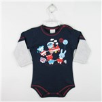 Body Bebê Masculino Manga Longa Azul Marinho e Mescla-P