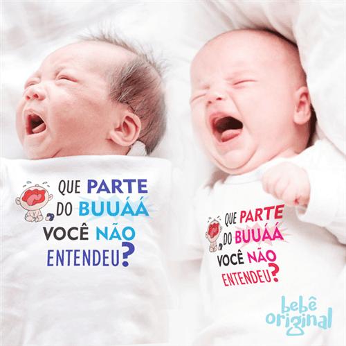Body Buá Choro do Bebê 100% Algodão, Branco Curta P