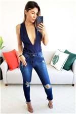 Body Colcci Jeans Indigo Sem Manga - Azul