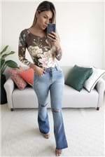 Body Farm Estampa Floral Oncinha - Marrom
