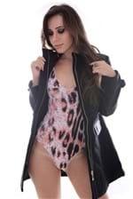 Body Feminino Regata com Tule e Estampa Animal Print BY0084 - Kam Bess