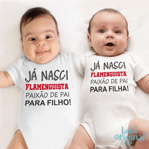 Body Flamenguista de Pai para Filho 100% Algodão, Branco Curta P