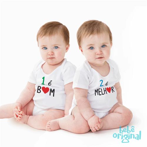 Body Gêmeos São Melhores 100% Algodão, Branco Curta P