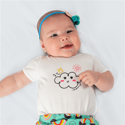 Body M/c Gotinha Feliz Off White/3 a 6 M