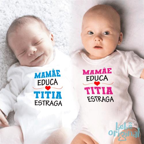 Body Mamãe Educa Titia Estraga 100% Algodão, Branco Curta P