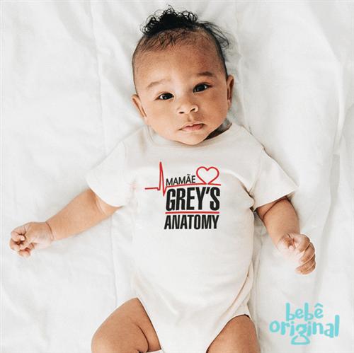 Body Mamãe Grey's 100% Algodão, Branco Curta P