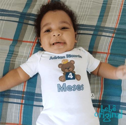 Body Mesversario Avulso Ursinho com Nome de Poá Menino