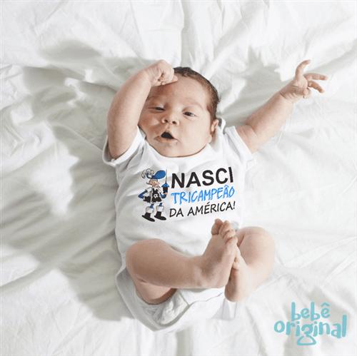 Body Nasci Tricampeão da América 100% Algodão, Branco Curta P