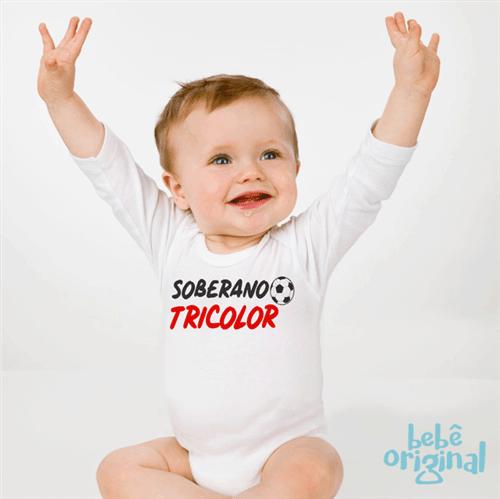 Body Soberano Tricolor 100% Algodão, Branco Curta P