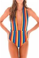 Body Tricot Farm Listras Amarração - Multicolorido