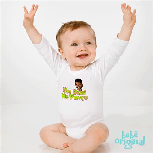 Body um Bebê no Pedaço 100% Algodão, Branco Curta P