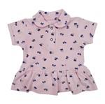 Body Vestido Bebê Manga Curta Rosa em Malha Piquet-P