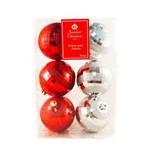 Bola de Natal Prata/vermelha com 6 Unid 70mm
