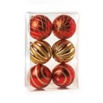 Bola Natalina Losango Vermelha/Ouro - Jg com 06 - 10cm Diametro - Cromus