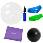 Bola Suica 65 Cm e Mini Bomba + 2 Mini Bands + Faixa Elastica Media + Overball 25cm Liveup