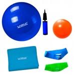 Bola Suica 65 Cm + Mini Bomba + 2 Mini Bands + Faixa Elastica Forte + Overball 25 Cm Liveup