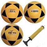 3 Bolas Futsal Vitória Oficial Star 1000 + Bomba de Ar