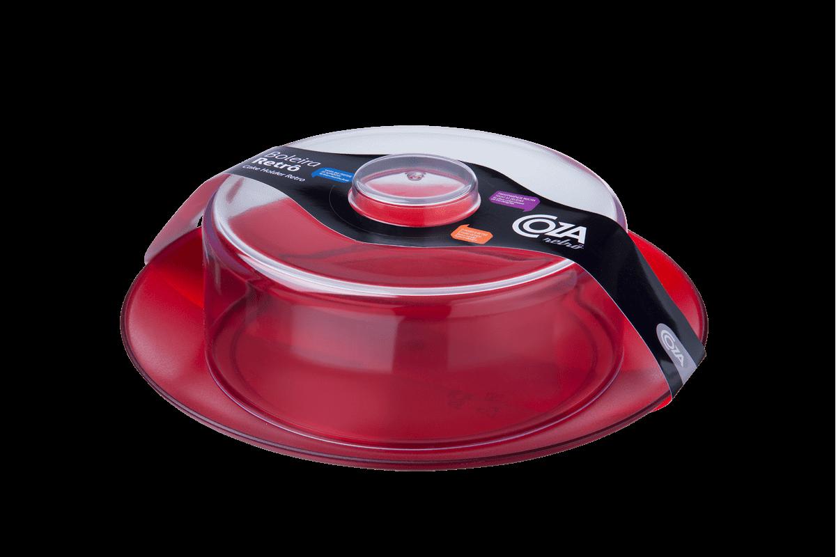 Boleira - Retrô 10,5 X 9,2 X 9,4 Cm Vermelho Transparente Coza