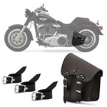 Bolsa Alforje Lateral de Balança Harley Davidson Dyna Fat Boy Honda Shadow Kawasaki Vulcan Couro Mar