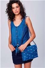 Bolsa Jeans Envelope com Logos - Tam: UC / Cor: BLUE