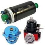 Bomba Elétrica de Combustível Externa 9bar + Dosador de Combustível Preto/Vermelho + Blow Off X-Flow Q Azul (VLRPU05-SALBCS02-VLBOQF02) Confira Especificações
