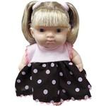 Boneca Cotiplás Dolls Collection - Cabelo Loiro - Vestido Marrom/rosa