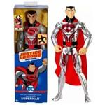 Boneco Herói Superman Super Homem Armadura de Aço Cinza Liga da Justiça - Mattel