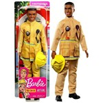 Boneco Ken Negro Profissões Bombeiro Namorado Barbie Mattel