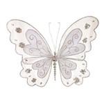Borboleta Decorativa Arranjo Natal 21cm Prata