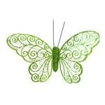 Borboletas para Arvore de Natal com Glitter Verde - 6 Unidades