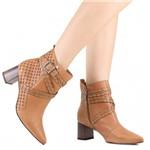 Bota Tanara Ankle Boot Salto Grosso Couro | Betisa