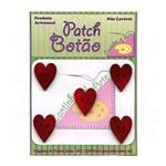 Botão Patch Coração Country Vermelho 1261 - 5 Unid