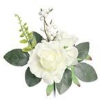 3 Botões de Rosas Decoração 12 Unid. Branco
