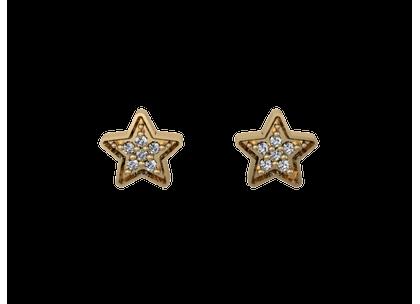 Brinco Estrelas com Diamantes Ouro Amarelo
