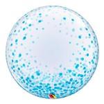 Bubble Decorativo 24 Polegadas - Pontos de Confete Azul - Qualatex