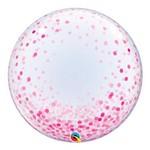 Bubble Decorativo 24 Polegadas - Pontos de Confete Rosa - Qualatex