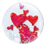 Bubble Duplo 24 Polegadas - Corações Flutuantes Adoráveis - Qualatex